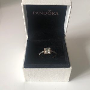 Pandora Square Sparkle Halo Ring